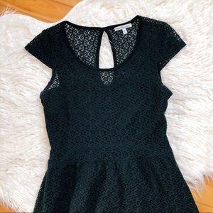 Black floral lace keyhole dress